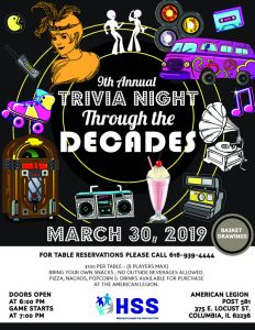 Trivia Night flyer March 30, 2019