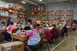 Clients working in the sheltered workshop