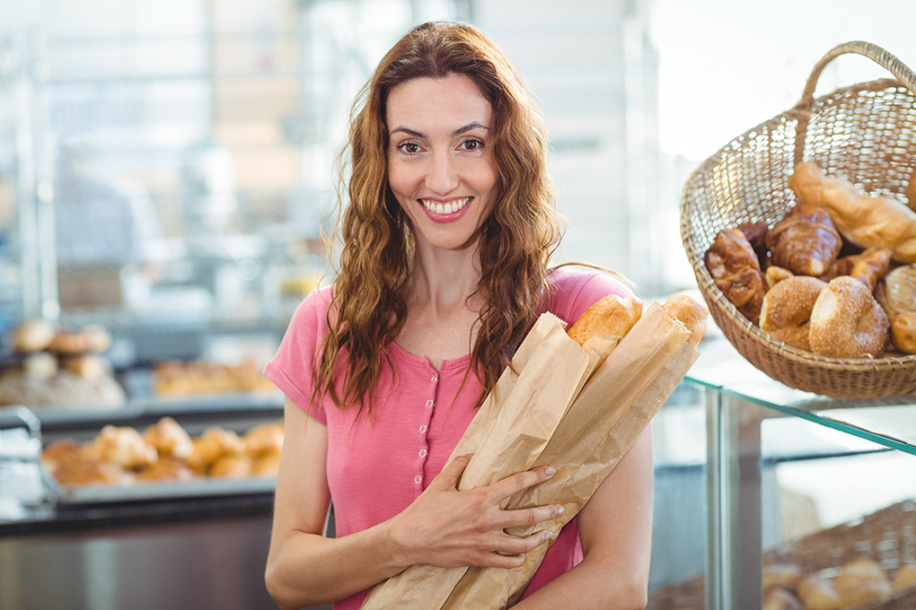 Young brunette with baguettes